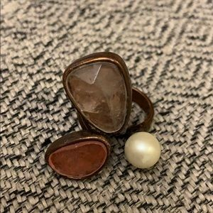 KC Statement Neutral and Pearl Adjustable Ring